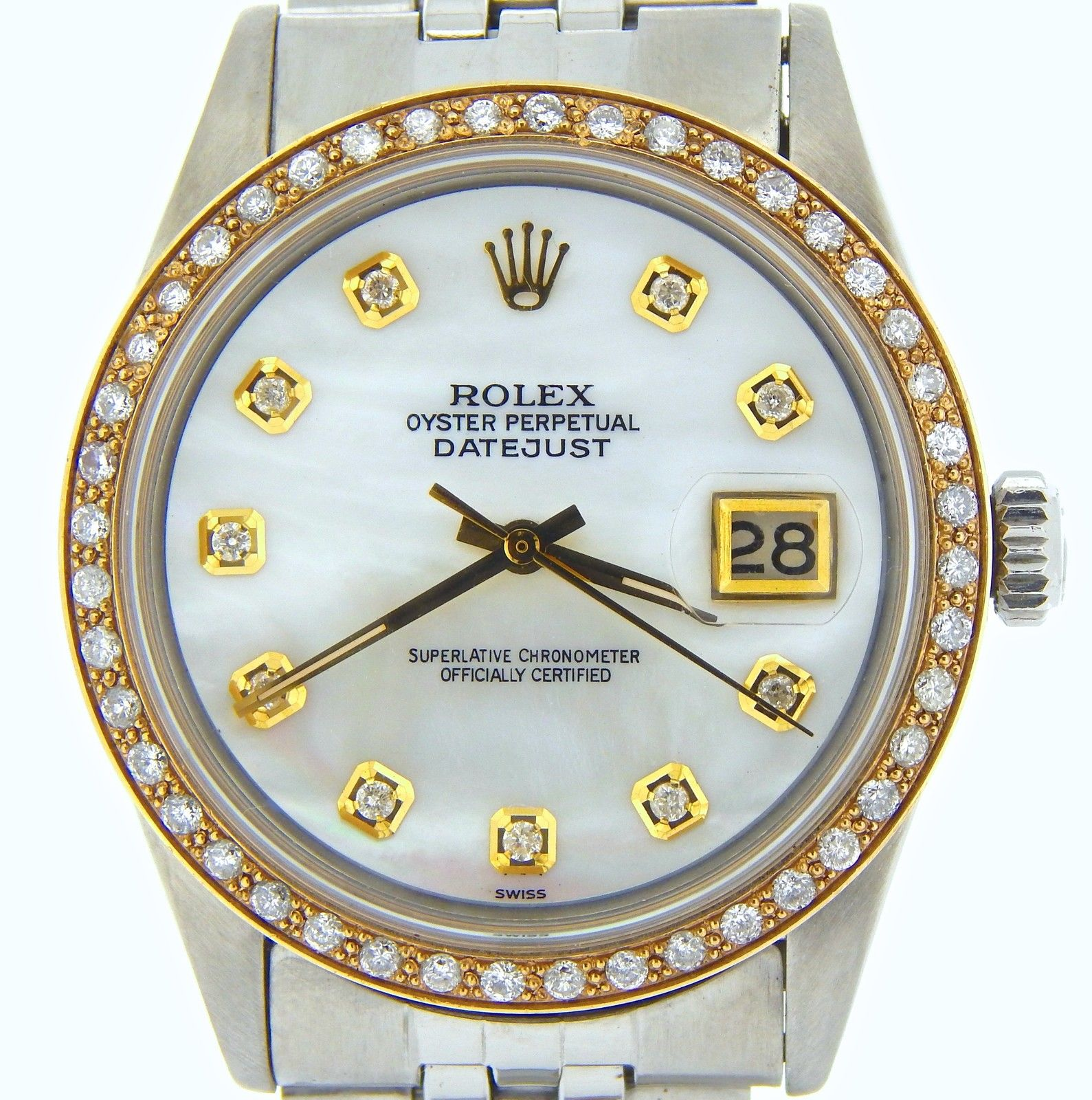 """Image of """"Rolex Stainless Steel Datejust w/White Mother Of Pearl Diamond Dial &"""""""