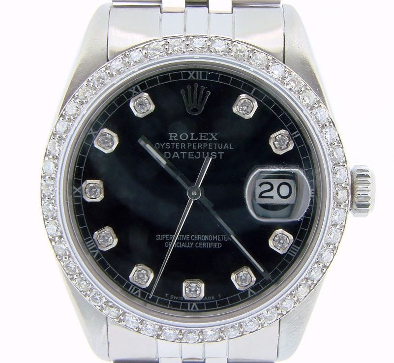 """Image of """"Rolex Datejust 16030 Stainless Steel Quickset w/Black Diamond Dial &"""""""