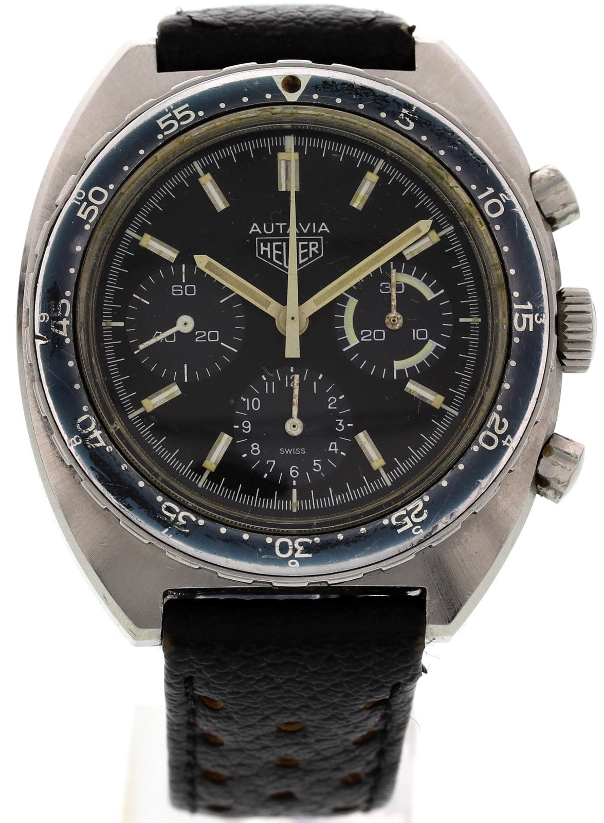 "Image of ""Heuer Autavia 73663 Stainless Steel & Leather 42mm Watch"""