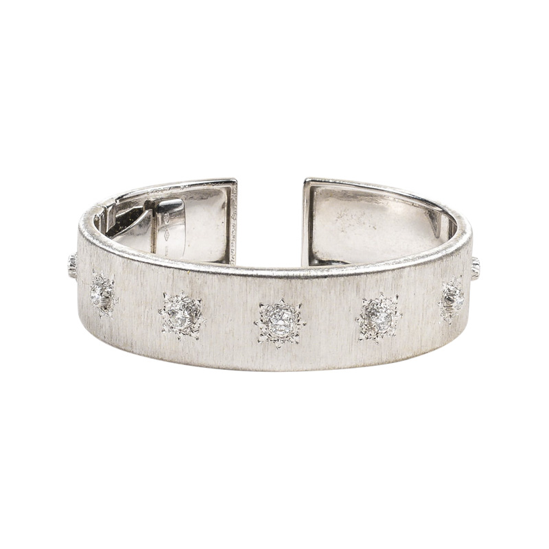 "Image of ""Buccellati 18K White Gold Diamond Macri Classica Hinge Cuff Bracelet"""