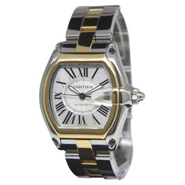Cartier Roadster 2510 18K Yellow Gold & Stainless Steel Silver Dial Automatic Mens Watch
