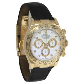 Rolex Daytona 116518 Chronograph 18K Yellow Gold White Dial Automatic Mens Watch