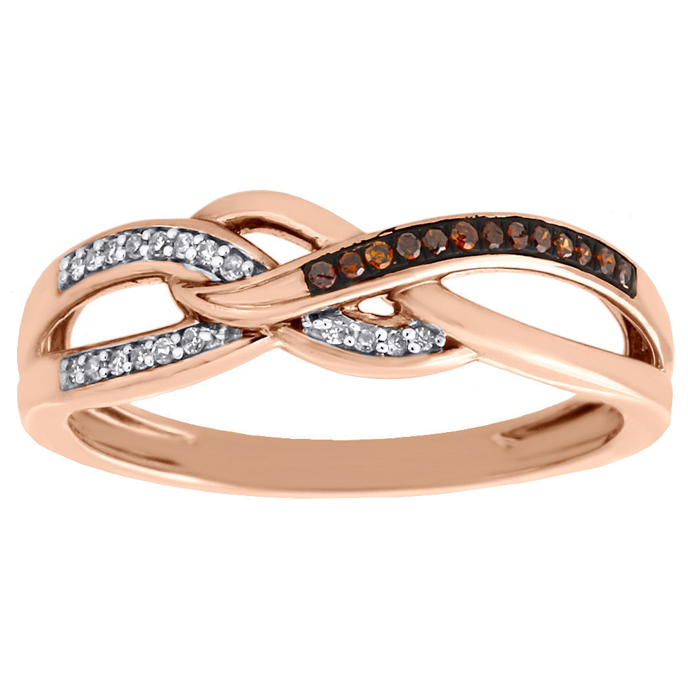 "Image of ""10K Rose Gold 0.08ct Red & White Diamond Infinity Anniversary Ring"""