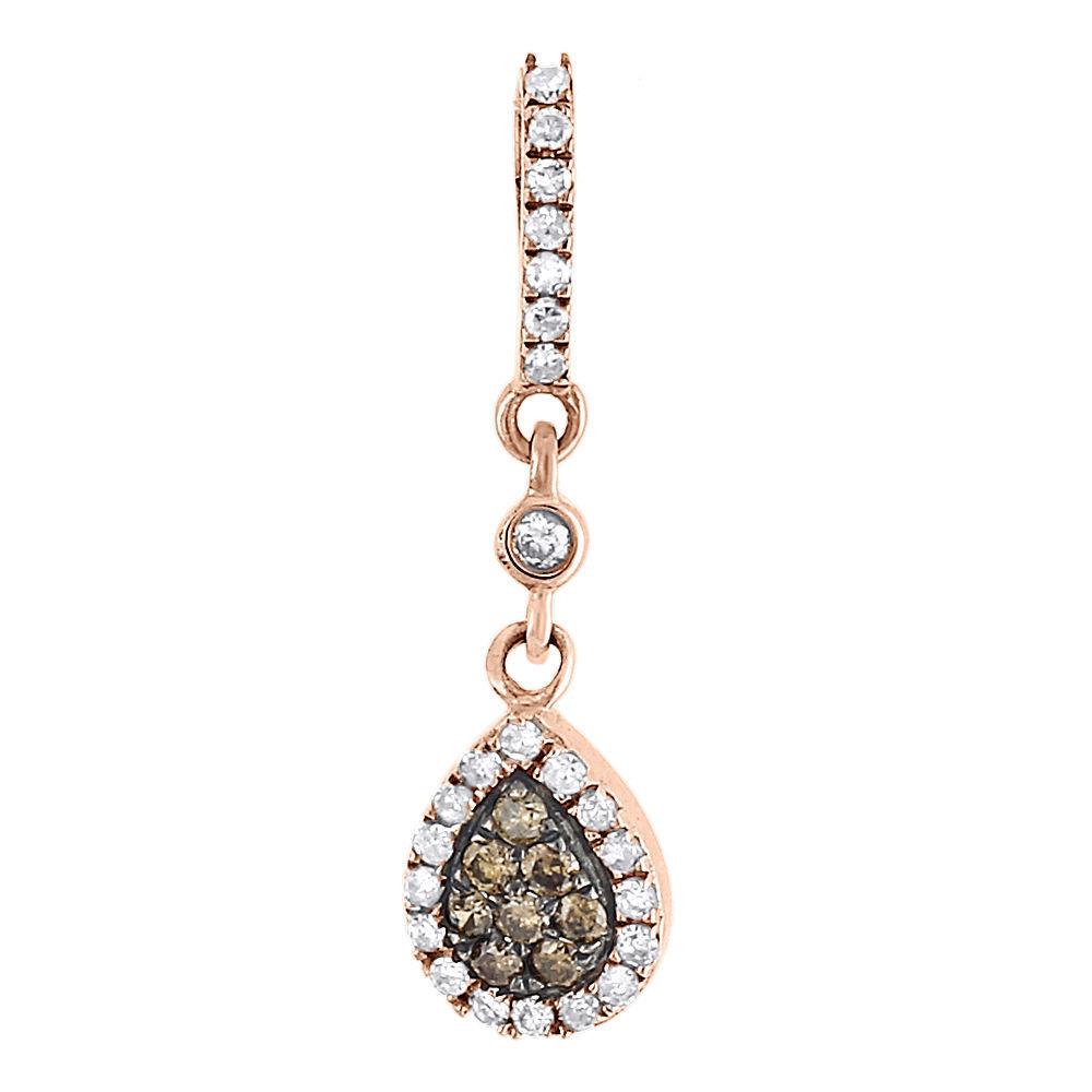 "Image of ""10K Rose Gold & 0.33ct Brown Diamond Tear Drop Dangle Charm Pendant"""