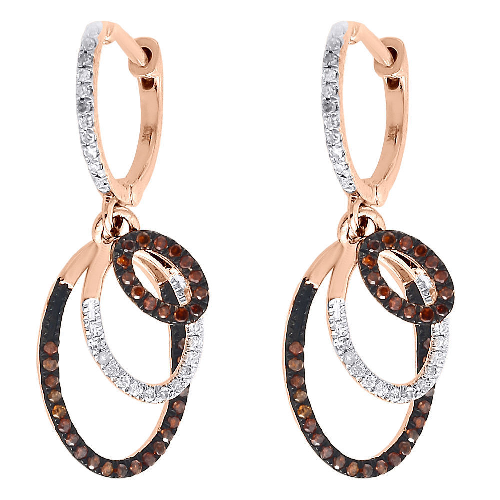 """Image of """"10K Rose Gold Round Pave 0.33 ctw. Red Diamond Oval Triple Loop Dangle"""""""
