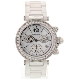 Cartier Pasha WJ130003 / 3131 Chronograph 18K White Gold & Diamond Mens Watch