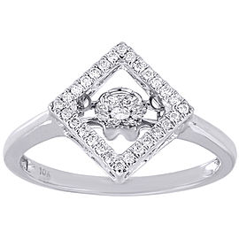 10K White Gold with 0.19ct Diamond Engagement Square Halo Ring Size 7