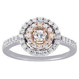 10K Two-Tone Gold 0.50ct Diamond Circle Band Ring Size 7