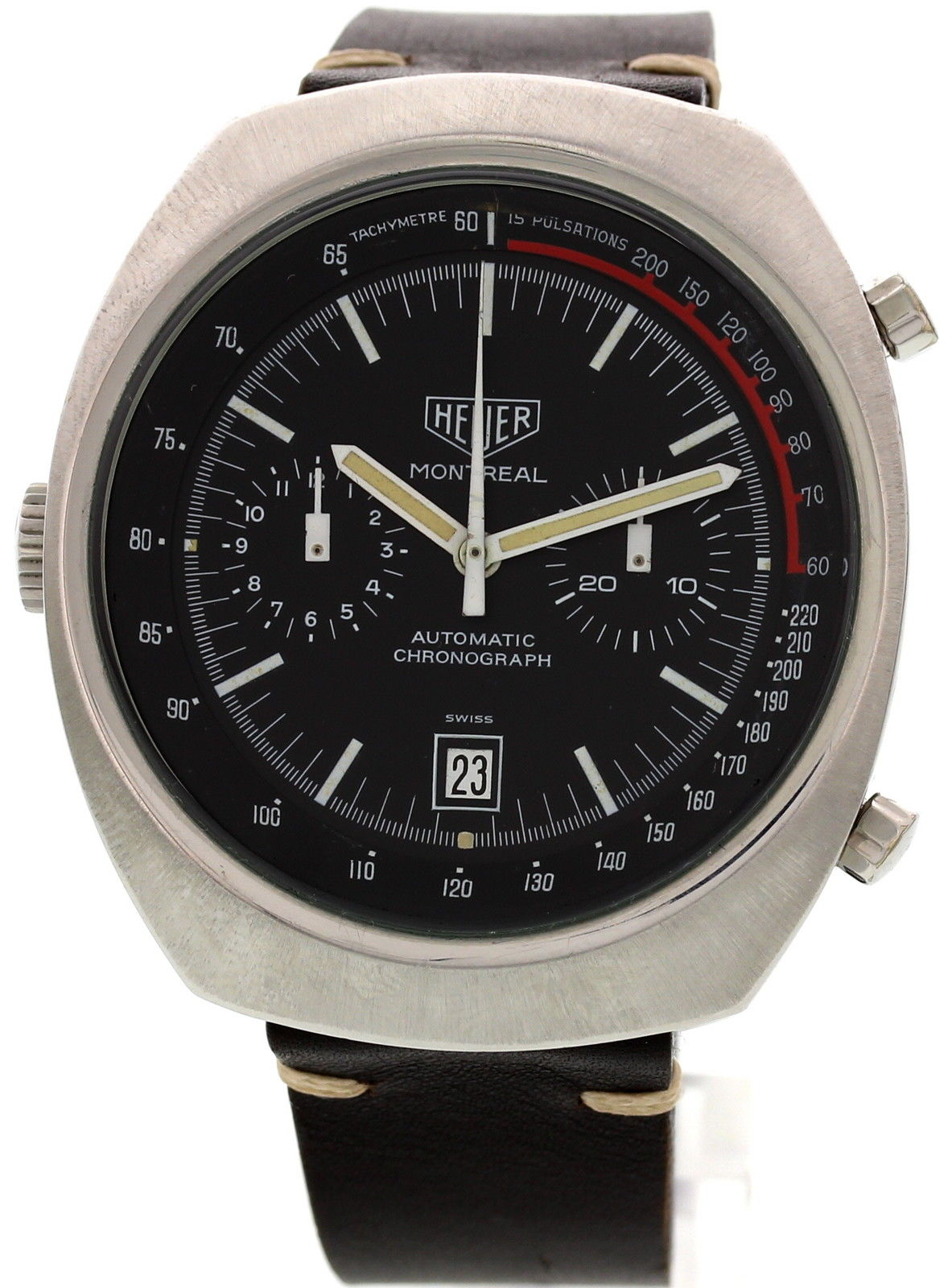 "Image of ""Heuer Montreal Automatic Chronograph Stainless Steel Vintage Mens"""