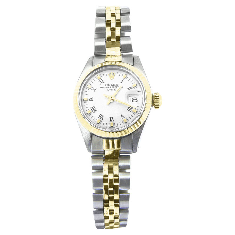 "Image of ""Rolex Date 6917 14K Yellow Gold & Stainless Steel Jubilee Band White"""