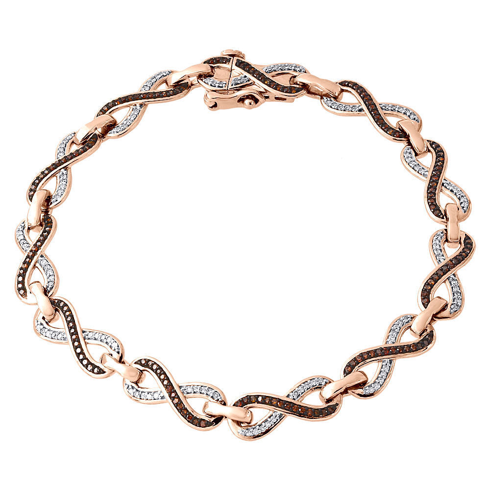 "Image of ""10K Rose Gold 0.75ct White & Red Diamond Infinity Loop Style Bracelet"""