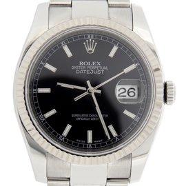 Rolex Datejust 116234 Stainless Steel 18K White Gold Bezel Black Dial Mens Watch