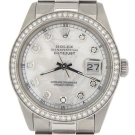 Rolex Datejust Stainless Steel With White Mother Of Pearl Diamond Dial Mens Watch