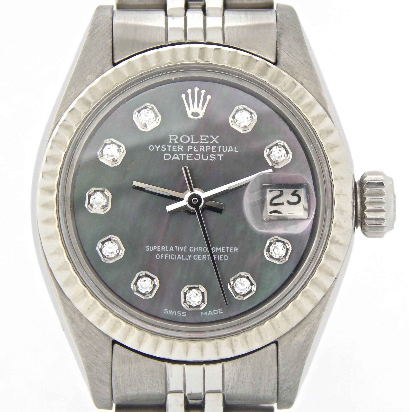 "Image of ""Rolex Datejust 6917 Stainless Steel & 18K White Gold Black Mother Of"""