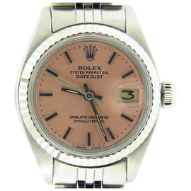 Rolex Datejust 6917 Stainless Steel & 18K White Gold With Salmon Dial Womens Watch
