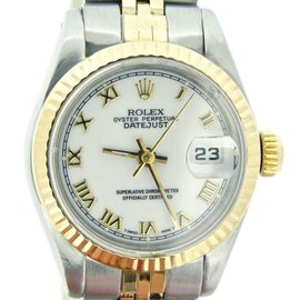Rolex Datejust 69173 Two Tone 18K Yellow Gold & Stainless Steel With White Roman Dial Womens Watch