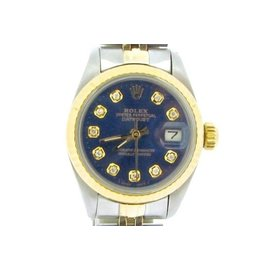 Rolex Datejust 69173 Two Tone 18K Yellow Gold & Stainless Steel With Blue Diamond Dial Womens Watch