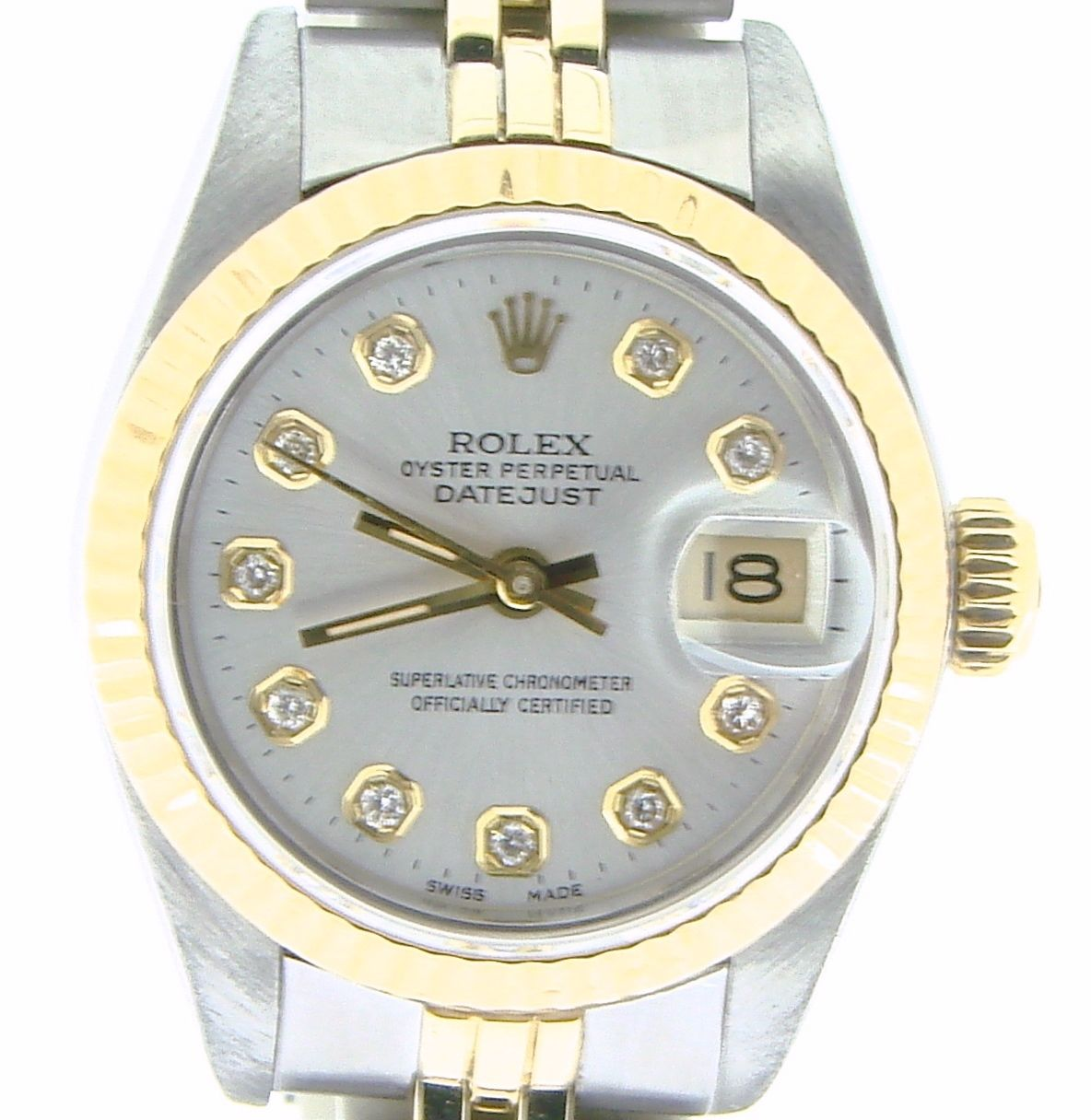 "Image of ""Rolex Datejust 69173 18K Yellow Gold & Stainless Steel Silver Diamond"""