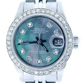 Rolex Datejust 6916 Stainless Steel With Black Mother of Pearl Diamond Womens Watch
