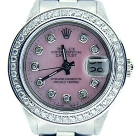 Rolex Datejust Stainless Steel With Pink Mother Of Pearl Diamond Dial Womens Watch