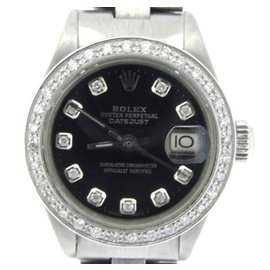 Rolex Datejust 6917 Stainless Steel With Black Diamond Dial Womens Watch