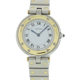 Cartier Santos Ronde 18K Yellow Gold & Stainless Steel Womens Watch
