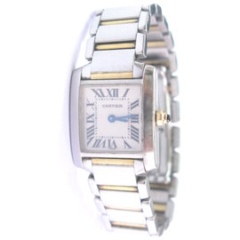 Cartier Tank Francaise 2384 18K Yellow Gold & Stainless Steel 20mm x 26mm Watch