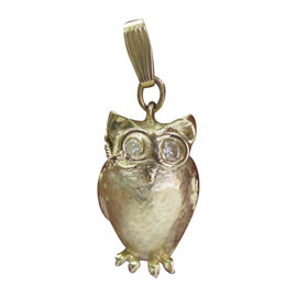 Tiffany & Co. 14K Yellow Gold 0.40 Ct Diamond Vintage Owl Pendant