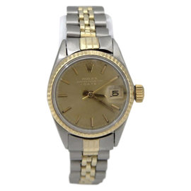 Rolex 6517 Two Tone 14K Yellow Gold Stainless Steel Date Womens 24mm Vintage Watch