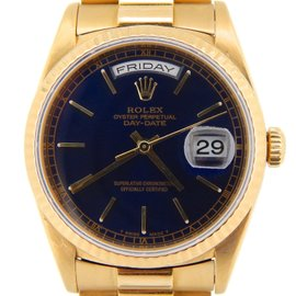 Rolex Day-Date President 18238 18K Yellow Gold With Black Dial 36mm Mens Watch