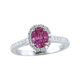 Tiffany & Co. Platinum 1.21 Ct Pink Sapphire & 0.25 Ct Diamond Engagement Ring Size 6.25