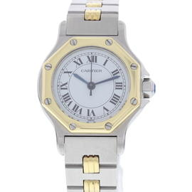 Cartier Santos 18K Yellow Gold & Stainless Steel Automatic 24 mm Womens Watch