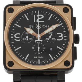 Bell & Ross Officer BR01-94 18K Rose Gold & Leather 46 mm Mens Watch