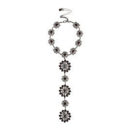 Chanel Silver Tone Metal Pre Fall 14 Runway Burgundy Studded Gripoix Necklace
