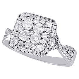 14K White Gold with 1.00ct Diamond Tiered Split Shank Square Engagement Ring Size 7
