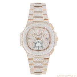 Patek Philippe Nautilus 5980 18K Rose Gold with Diamonds Automatic 40mm Mens Watch