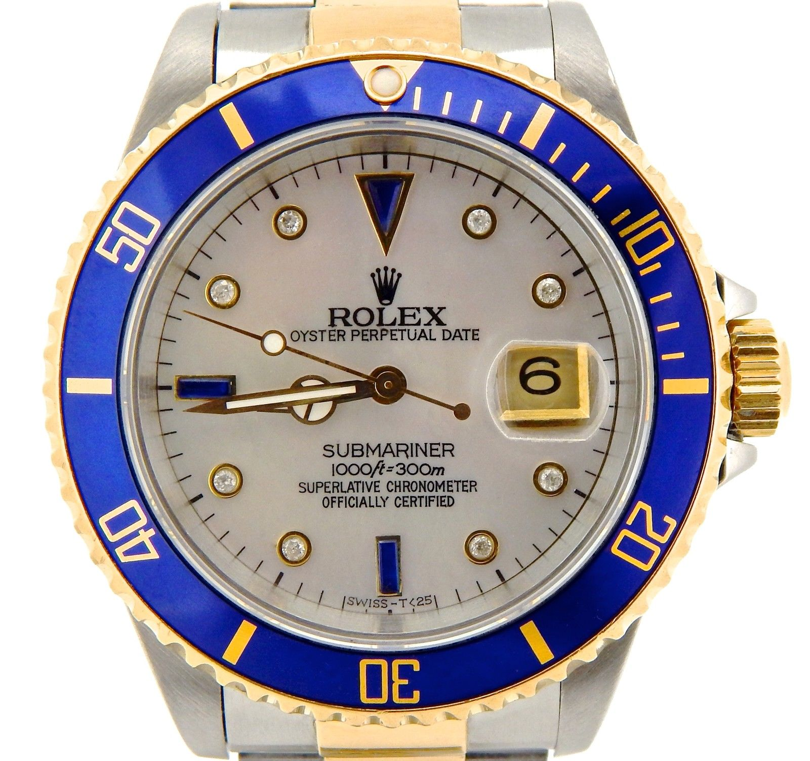 "Image of ""Rolex Submariner 16803 18K Yellow Gold & Stainless Steel Diamond Blue"""