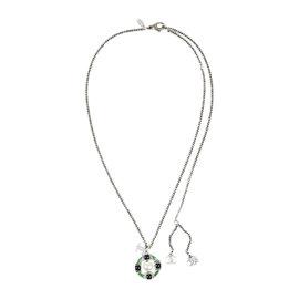 Chanel Silver Tone Metal Navy Green Enamel Pendant 'CC' Necklace