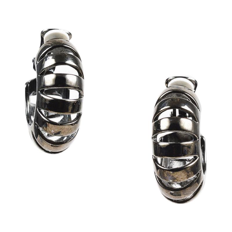 """Image of """"Oscar de la Renta Silver Tone Metal Earrings"""""""