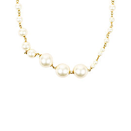 Chanel Gold Tone Metal & Faux Pearl Necklace