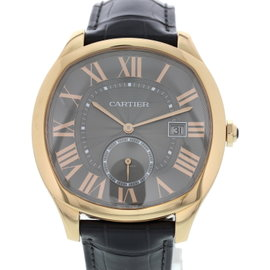 Cartier Drive 3651 18K Rose Gold & Leather Grey Dial Automatic 42mm Mens Watch
