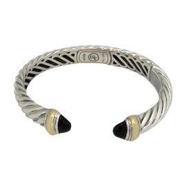 David Yurman 925 Sterling Silver & 18K Yellow Gold Onyx Cable Cuff Bracelet