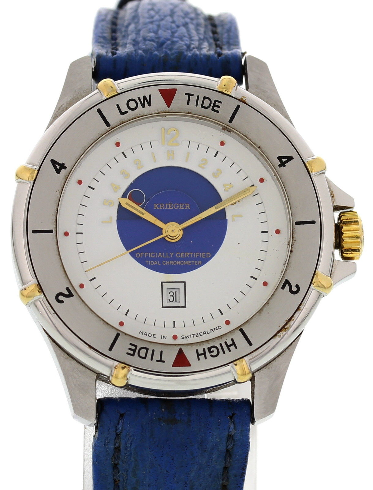 "Image of ""Krieger Tidal Wave M882 Stainless Steel & Leather Quartz 35mm Mens"""