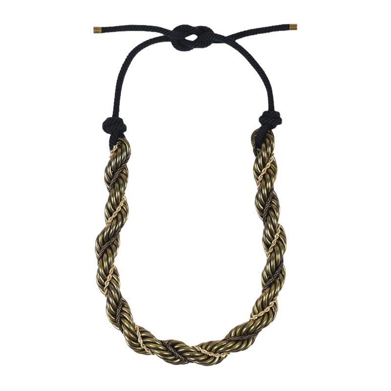 "Image of ""Lanvin Brass Gold Tone Metal Chunky Twist Chain Lariat Tie Statement"""