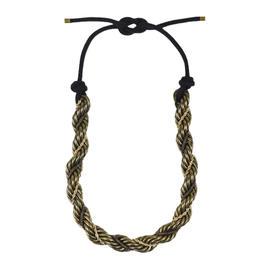 Lanvin Brass Gold Tone Metal Chunky Twist Chain Lariat Tie Statement Necklace
