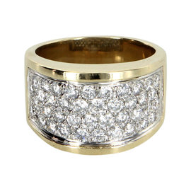14K Yellow Gold 1.40 Ct Paved Diamond Dome Vintage Cocktail Ring Size 7.5