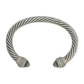 David Yurman Cable Albion Sterling Silver 0.50 Ct Diamond and Prasiolite Cuff Bracelet
