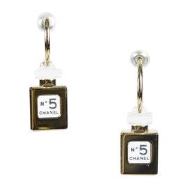 Chanel Gold Tone Metal Black 'No. 5' Perfume Bottle Drop Earrings