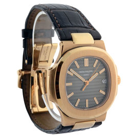 Patek Philippe Nautilus 5711R 18K Rose Gold & Leather Automatic 38mm Mens Watch