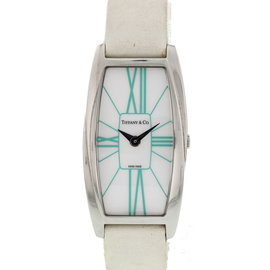 Tiffany & Co. Gemea T1404 Stainless Steel & Satin White Dial Quartz 22mm Womens Watch